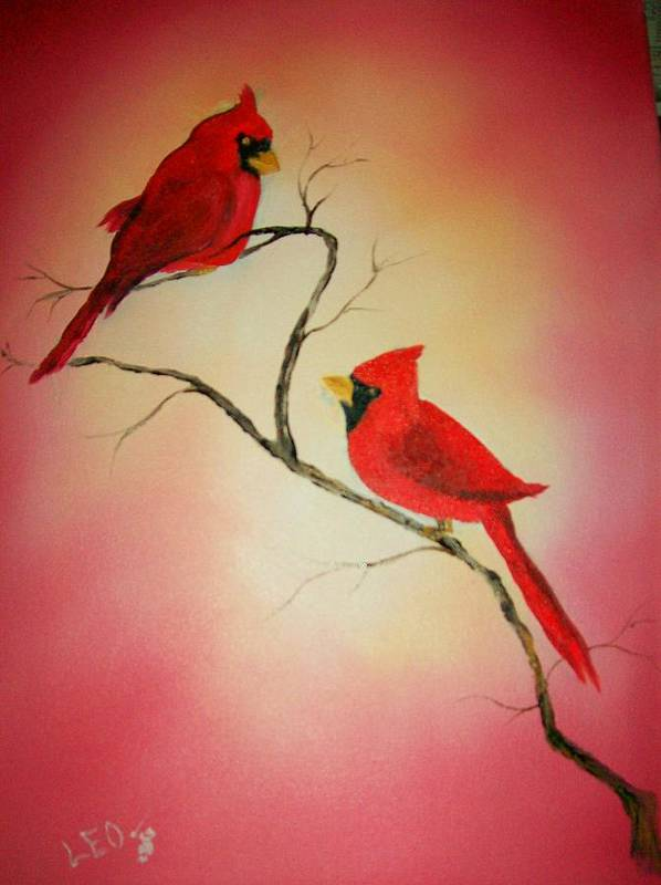 Cardinals Poster featuring the painting Cardinals At Sunset by Leo Gordon