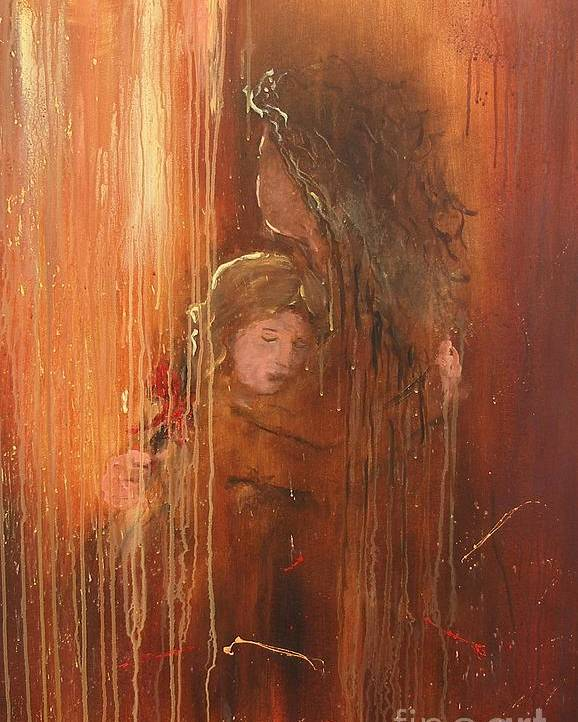 Caring Take Care Mother And Daughter Mom Baby Abstract Painting I Love You Rain Hug Little Girl Lovely Poster featuring the painting Caring by Miroslaw Chelchowski