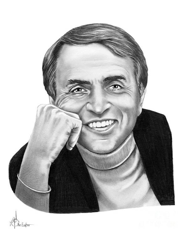 Pencil Poster featuring the drawing Carl Sagan by Murphy Elliott