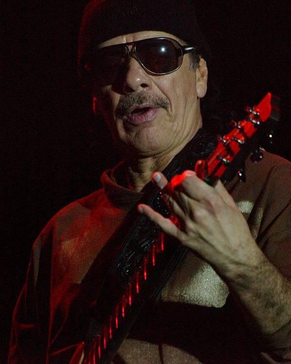 Carlos Santana. Santana. Memphis In May Poster featuring the photograph Carlos Santana by Bob Guthridge