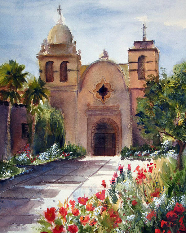 California Poster featuring the painting Carmel Mission Basilica by Norah Brown