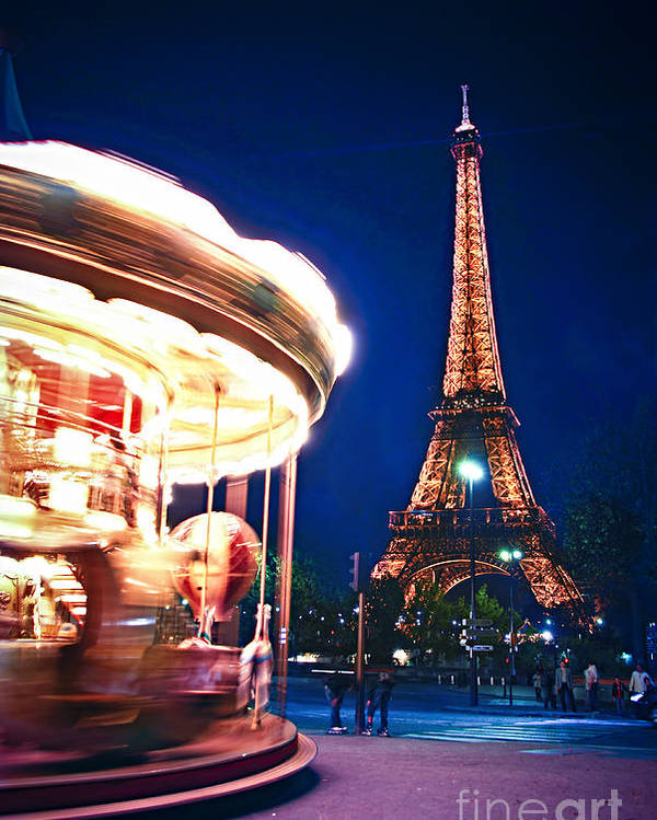 Carousel Poster featuring the photograph Carousel And Eiffel Tower by Elena Elisseeva