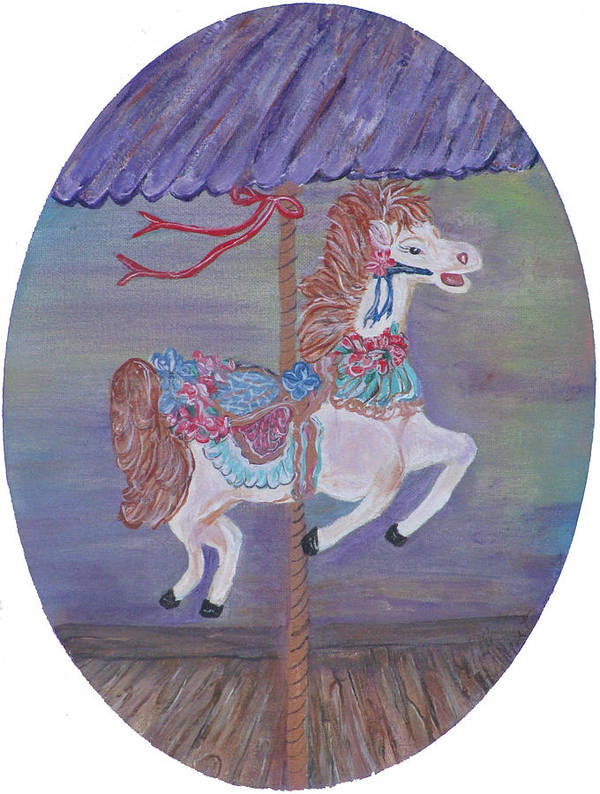 Carousel Poster featuring the painting Carousel by Mikki Alhart