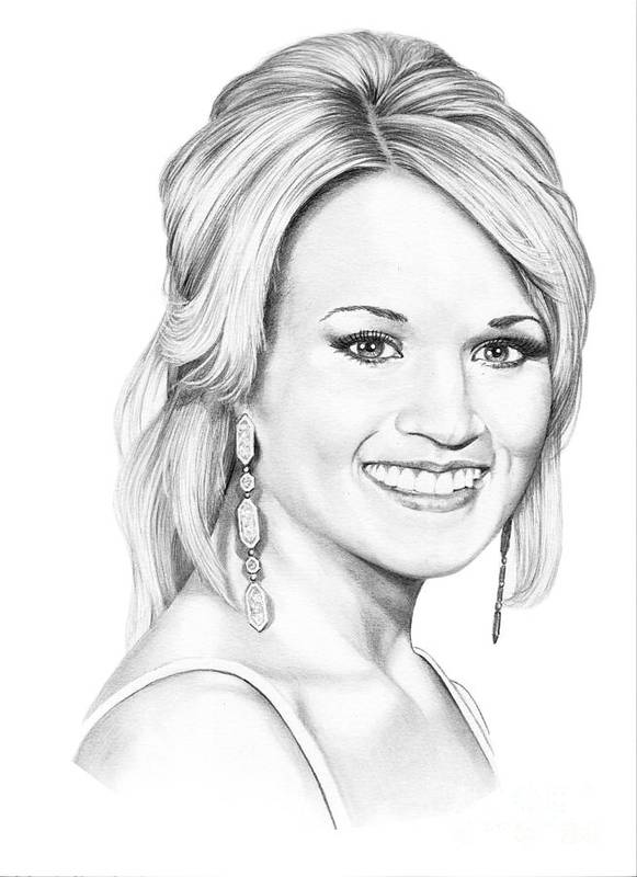Portrait Poster featuring the drawing Carrie Underwood by Murphy Elliott