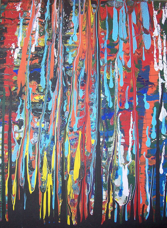 Abstract Poster featuring the painting Cascade by Hollie Leffel