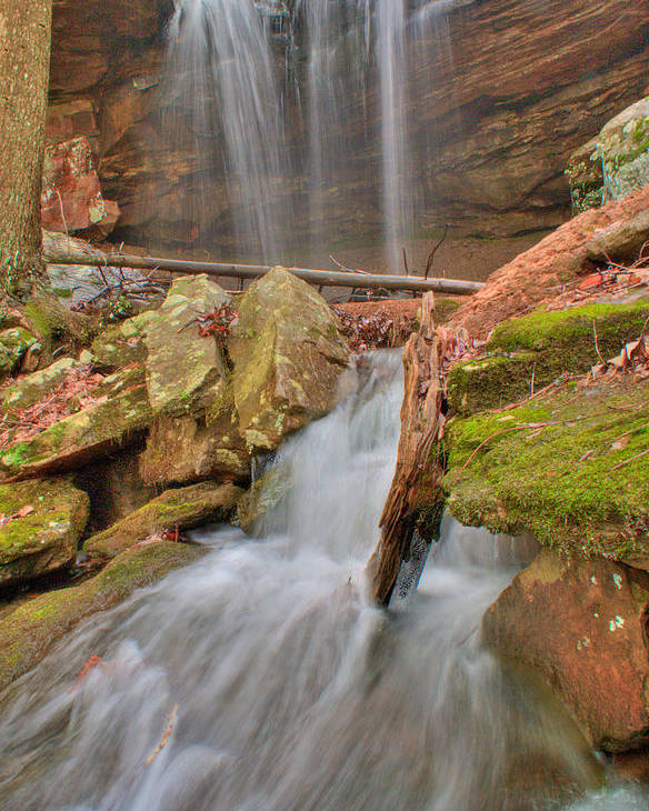 Water Poster featuring the photograph Cascading Waterfall by Douglas Barnett