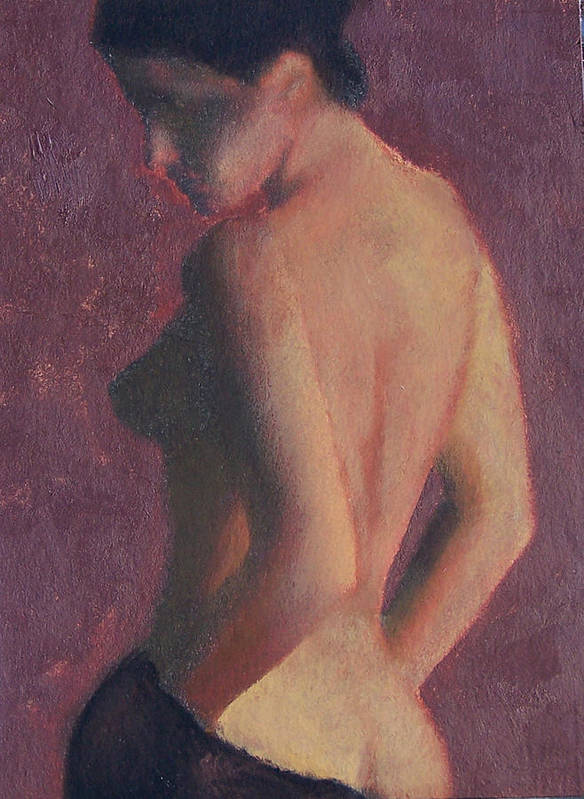 Nude Poster featuring the painting Castle Firelight by Bill Brauker