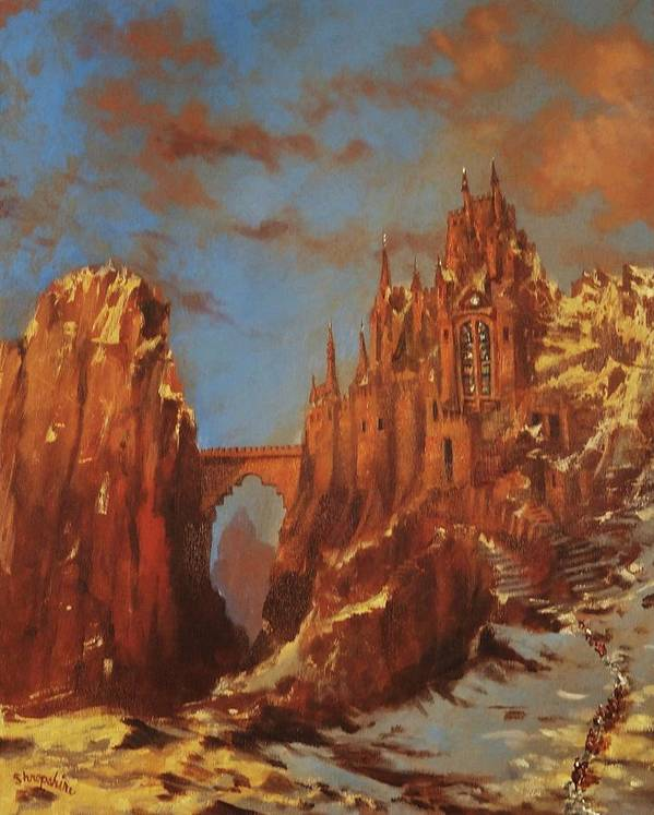 Fantasy Poster featuring the painting Castle Of The Mountain King by Tom Shropshire