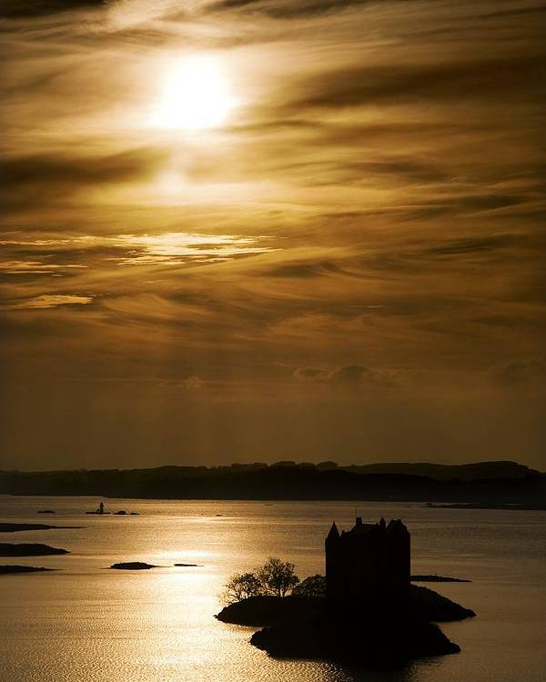 Beauty In Nature Poster featuring the photograph Castle Stalker At Sunset, Loch Laich by John Short
