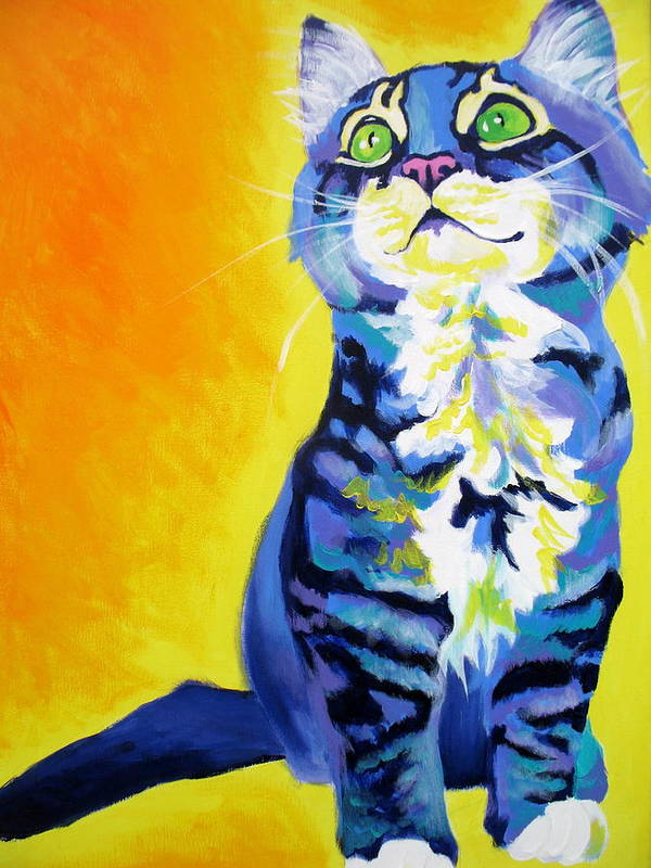 Cat Poster featuring the painting Cat - Here Kitty Kitty by Alicia VanNoy Call