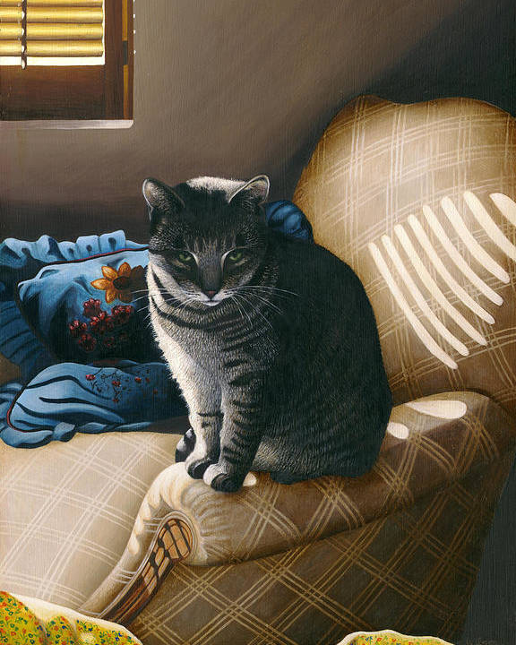 Gray Tabby Cat Poster featuring the painting Cat In Shadows by Carol Wilson