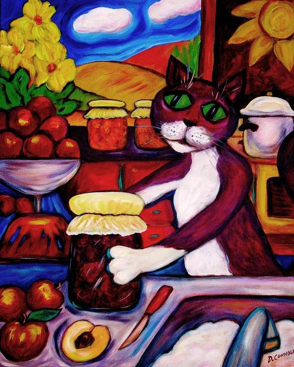 Diconnollyart Poster featuring the painting Cat In The Kitchen Bottling Fruit by Dianne Connolly