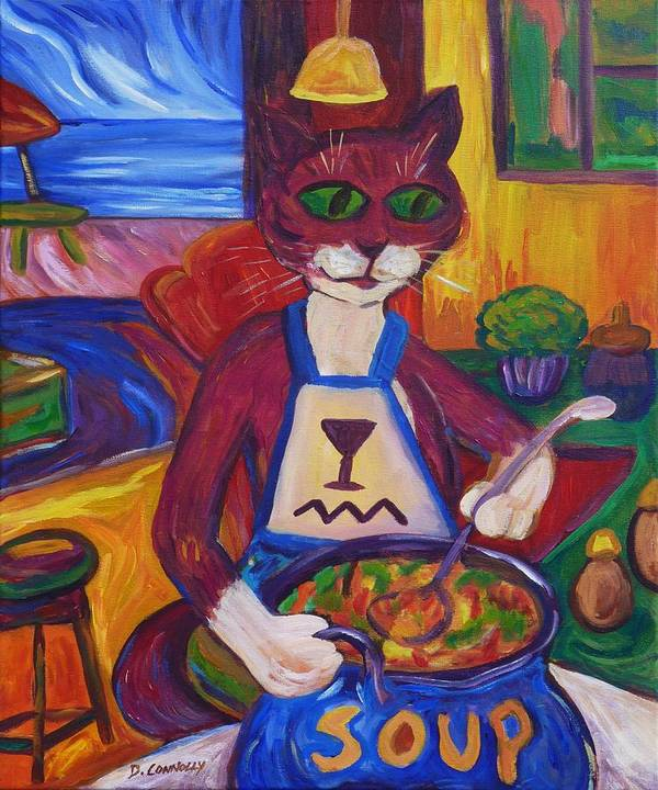 Diconnollyart Poster featuring the painting Cat In The Kitchen Making Soup by Dianne Connolly