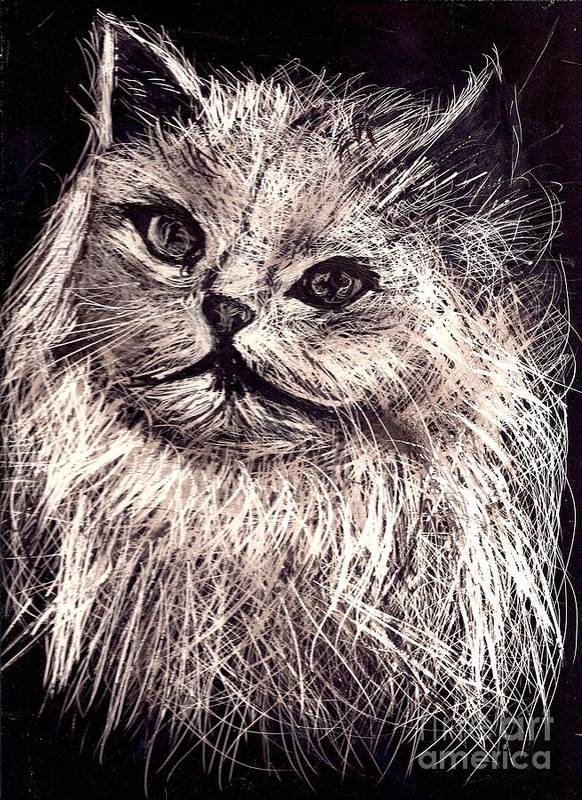 A Cat Print Poster featuring the painting Cat Life by Leonor Shuber