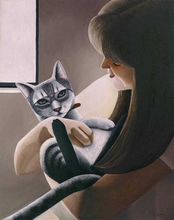 Gray Tabby Cat Poster featuring the painting Cat Nestled by Carol Wilson