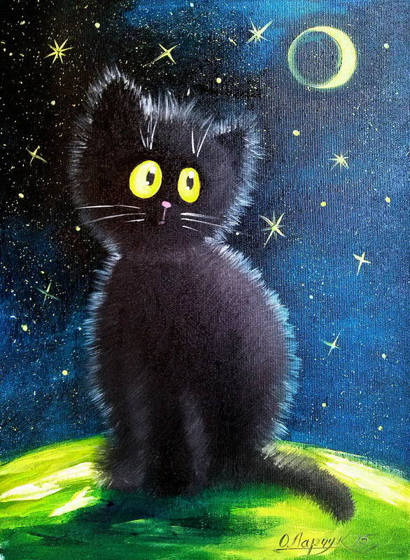 Cat Poster featuring the painting Cat by Olha Darchuk
