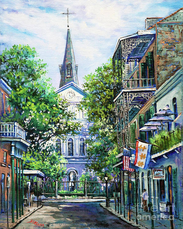 Louisiana Cathedral Poster featuring the painting Cathedral at Orleans by Dianne Parks