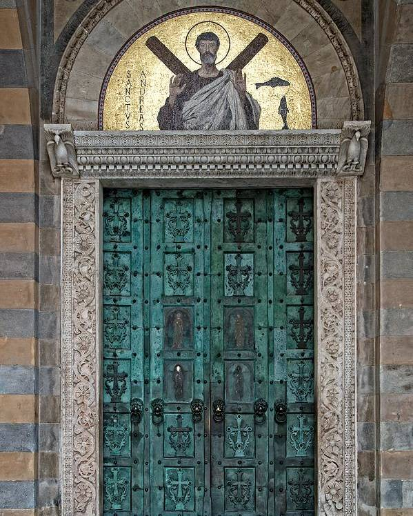 Italy Poster featuring the photograph Cathedral Of Amalfi Door by Allan Van Gasbeck