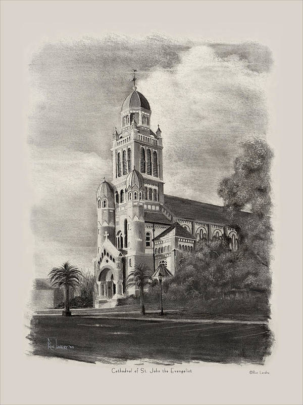 Cathedral Poster featuring the drawing Cathedral Of St John The Evangelist by Ron Landry