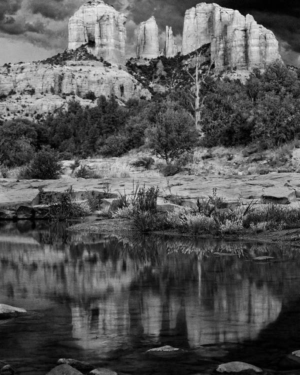 Sedona Poster featuring the photograph Cathedral Rock Black And White Number Seven by Bob Coates