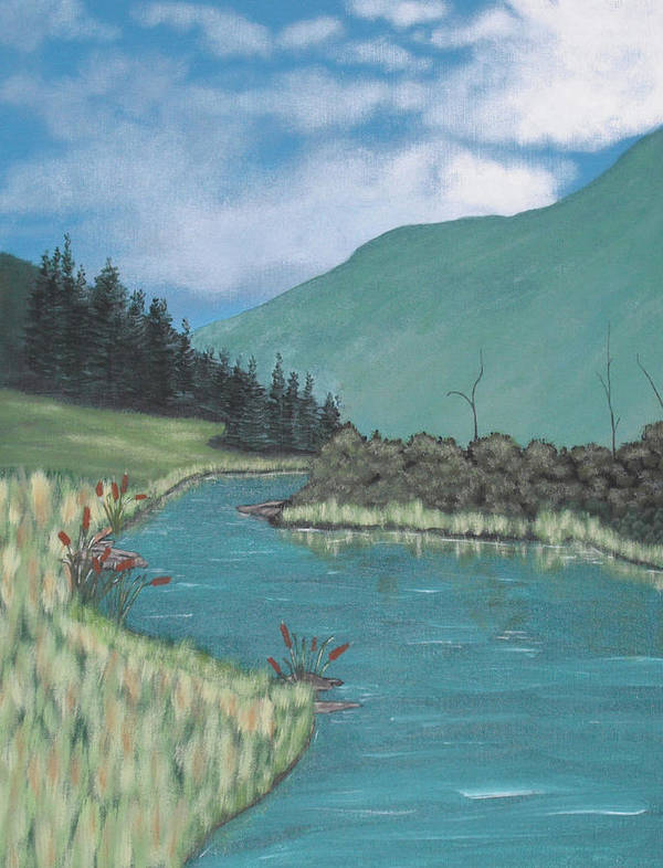 Landscape Poster featuring the painting Cattails by Candace Shockley