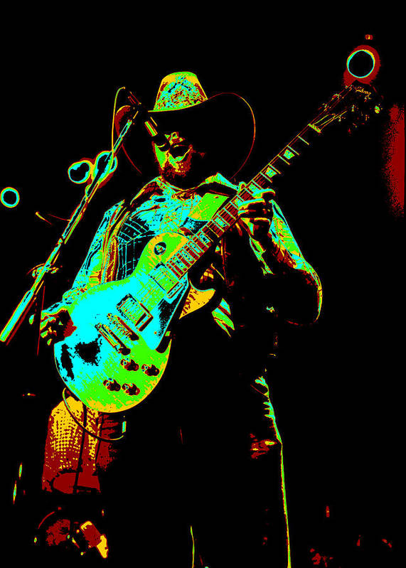 Charlie Daniels Poster featuring the photograph Cdb Winterland 12-13-75 #4 Enhanced In Cosmicolors by Ben Upham