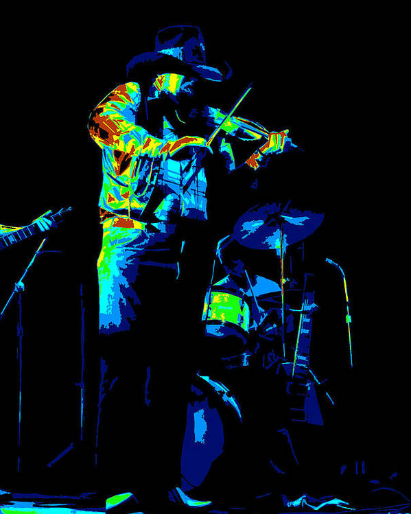 Charlie Daniels Poster featuring the photograph Cdb Winterland 12-13-75 #7 Enhanced In Cosmicolors by Ben Upham