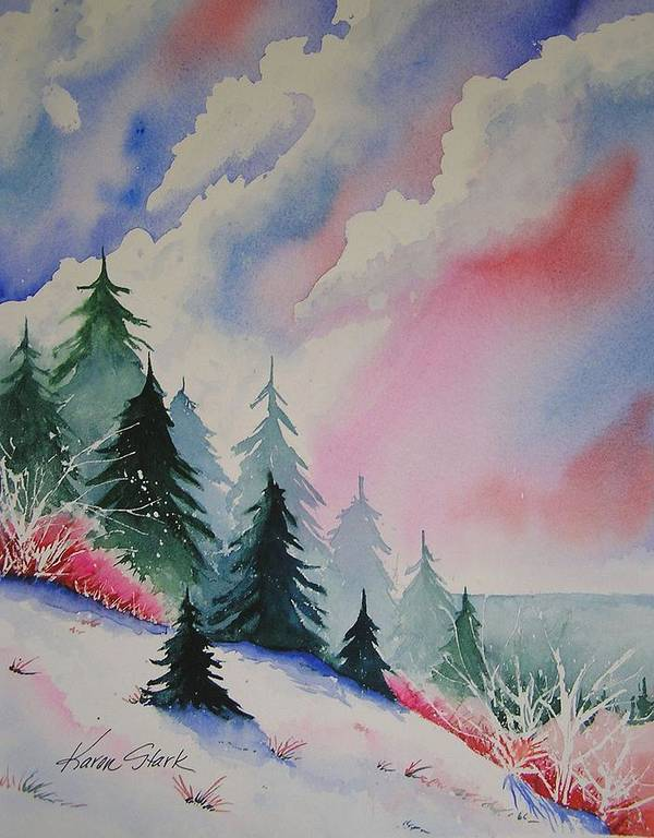 Snow Poster featuring the painting Cedar Fork Snow by Karen Stark