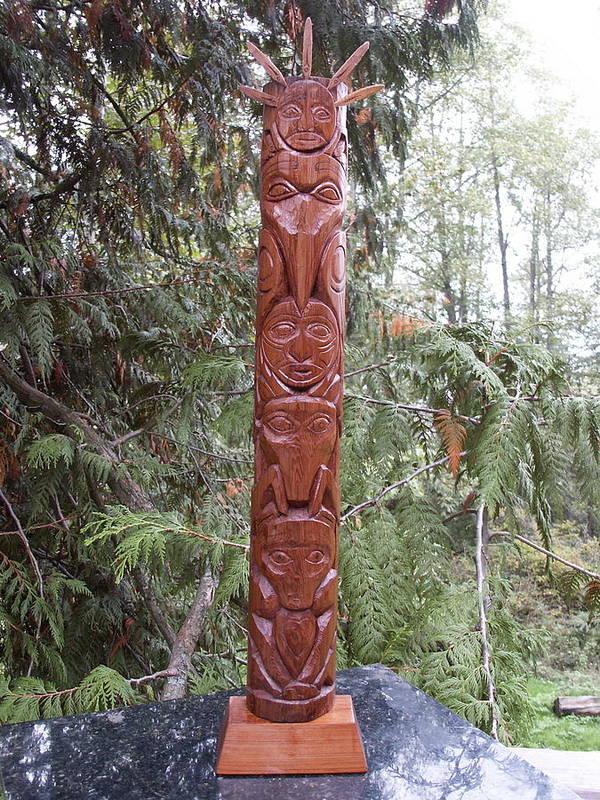 Totem Poster featuring the photograph Cedar Sun Totem by Eric Singleton