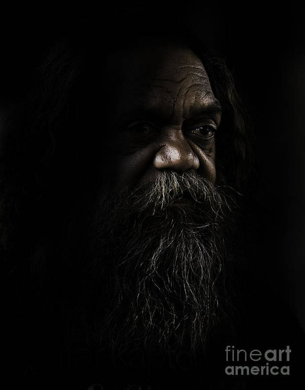 Fullblood Aborigine Poster featuring the photograph Cedric In Shadows by Sheila Smart Fine Art Photography
