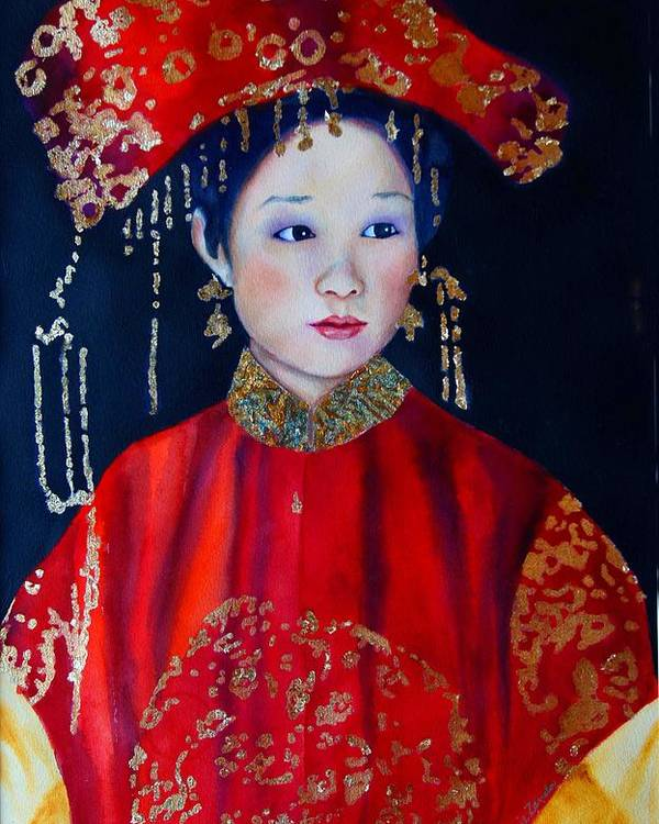 Asian Woman Poster featuring the painting Celebration In Red by Gail Zavala
