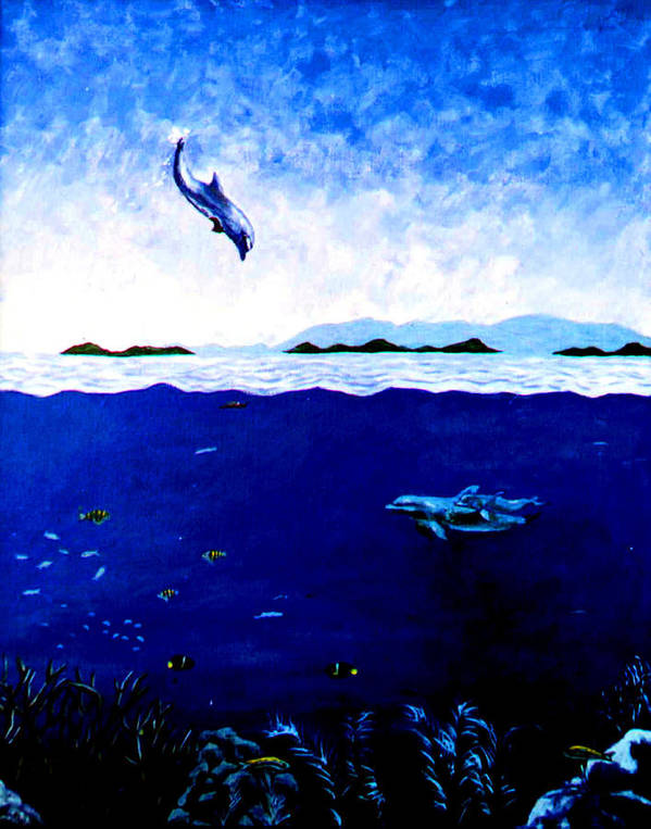 Dolphin Poster featuring the painting Celebration of Life by Stan Hamilton