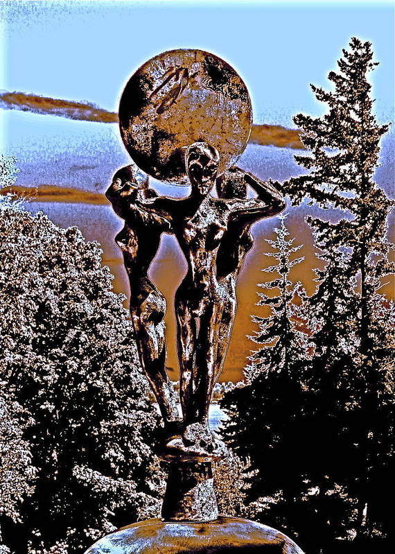 Cosmic Celestial Figure Nude Female Crystal Ball Trees Bronze Sky Digital Dawn Morning Fertility Sun Poster featuring the photograph Celestial Conversation Morning Dawn by Eric Singleton