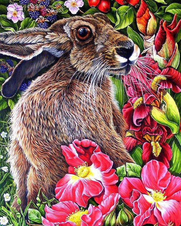 Hare Poster featuring the painting Celibration by Donald Dean