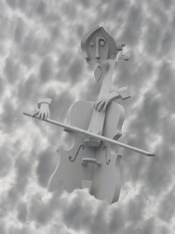 Clouds Poster featuring the photograph Cello In The Clouds by David Houston