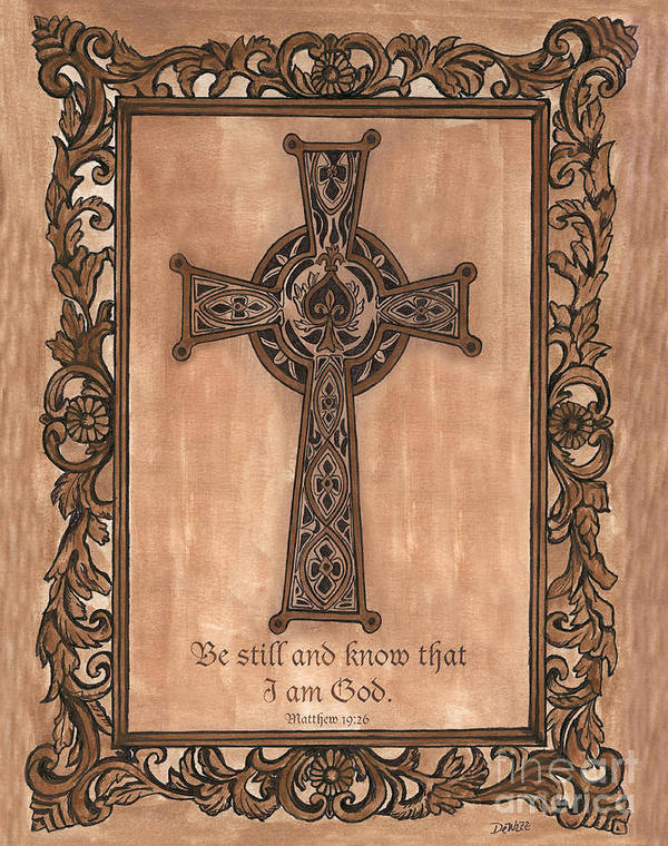 Cross Poster featuring the painting Celtic Cross by Debbie DeWitt