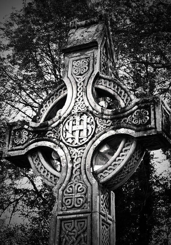 Irish Poster featuring the photograph Celtic Cross Detail Killarney Ireland by Teresa Mucha