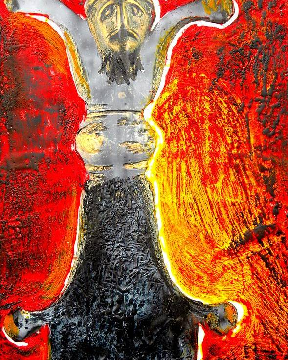 Encaustic On Board Poster featuring the painting Celtic Sword Handel by Patricia Bigelow