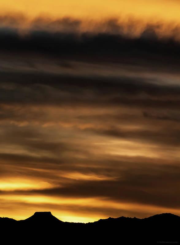 Sunset Poster featuring the photograph Cerro Pedernal by Britt Runyon