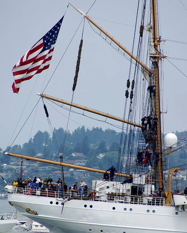 Tall Ships Poster featuring the photograph Cgc Eagle by Sonja Anderson
