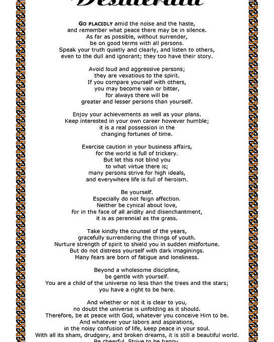 Desiderata Poster featuring the mixed media Chain Link Desiderata Poem by Desiderata Gallery