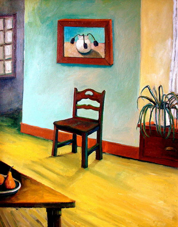 Apartment Poster featuring the painting Chair And Pears Interior by Michelle Calkins