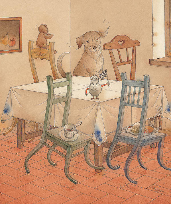 Kitchen Chair Race Dog Poster featuring the painting Chair Race by Kestutis Kasparavicius