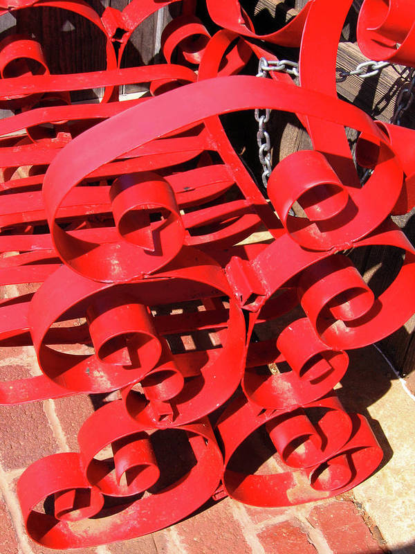 Red Poster featuring the photograph Chair Spiral by Denise Keegan Frawley