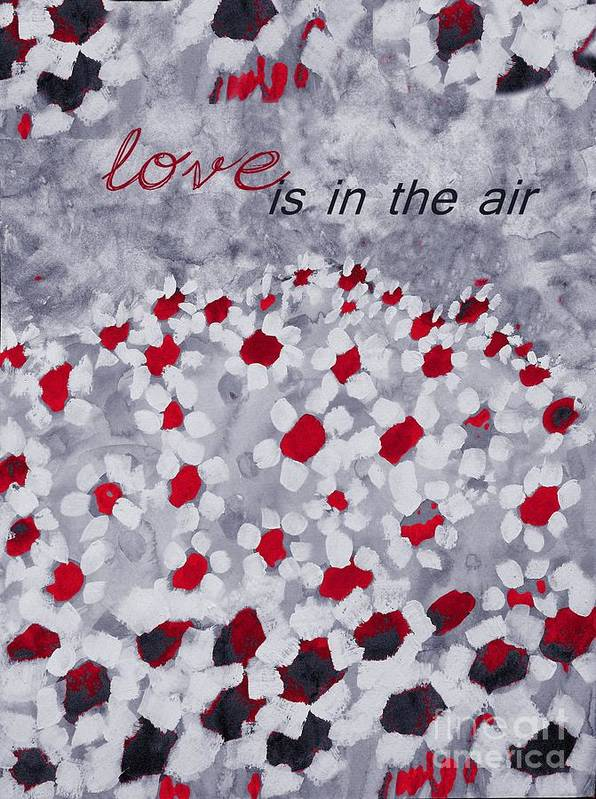 Love Poster featuring the painting Champs De Marguerites - Love Is In The Air - Red -a23a3 by Variance Collections
