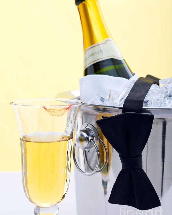 Champagne Poster featuring the photograph Champagne Black Tie And Lipstick by Richard Thomas