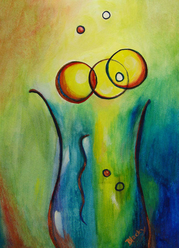 Abstract Poster featuring the painting Champagne by Donna Blackhall
