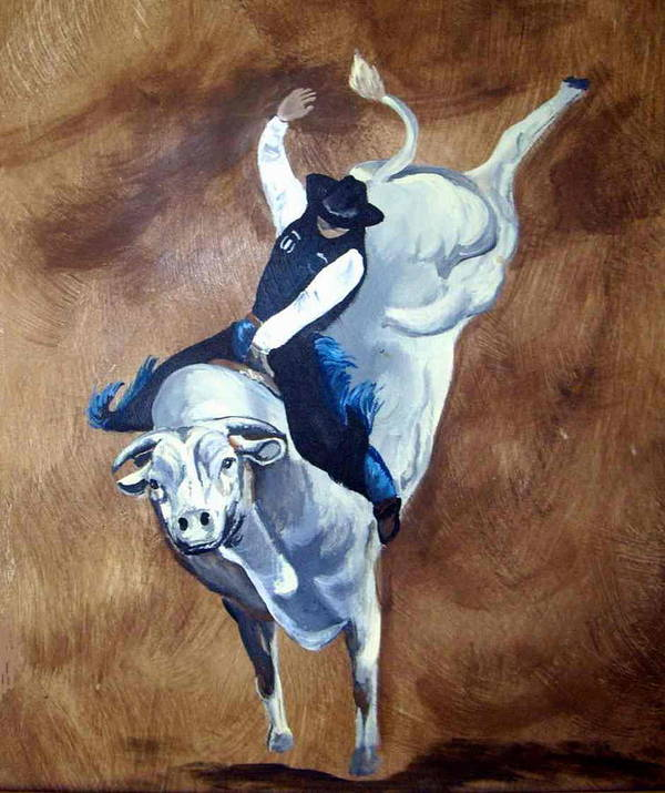 Bullrider Poster featuring the painting Champion Ride by Glenda Smith