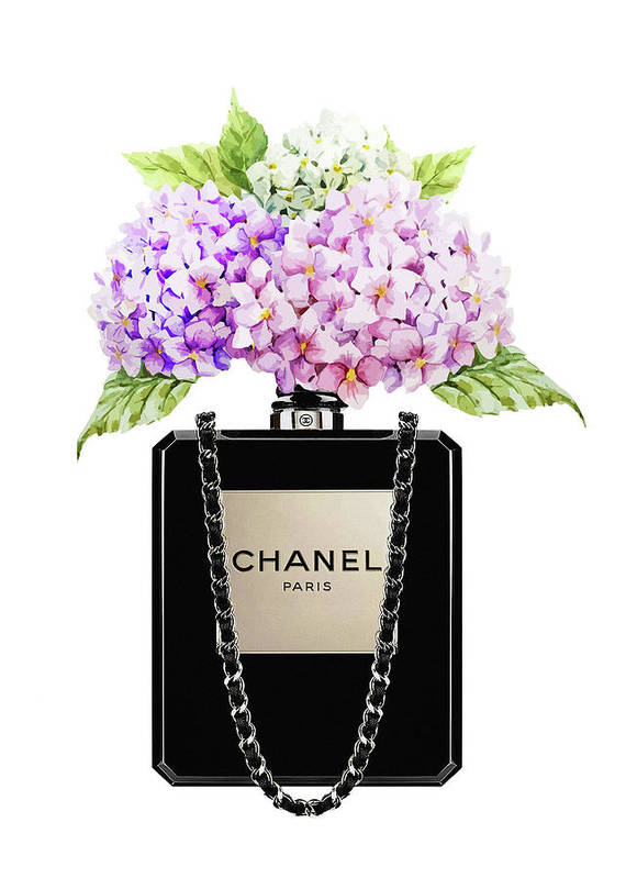 e455efd7d3a4d8 Chanel Bag Poster featuring the painting Chanel Bag With Lila Hydragenia by Del  Art