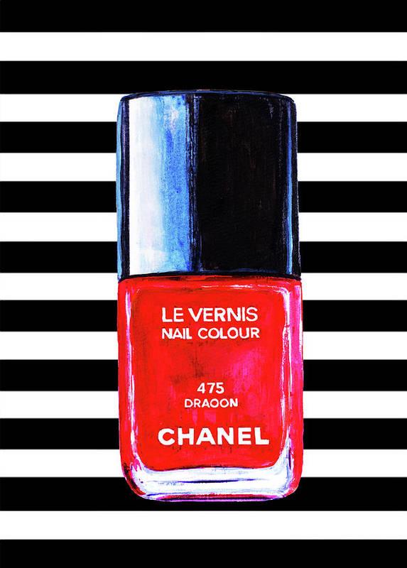 Chanel Nail Polish Art Print Chanel Nail Polish Poster Poster by Del Art